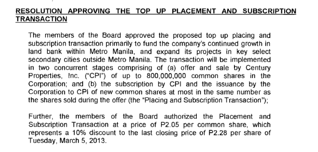 Top Up Placement on CPG