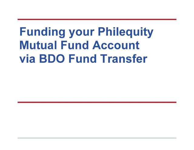 fund via bdo transfer